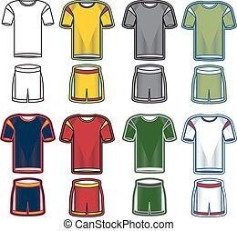 Set of soccer uniform