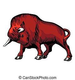 Bison - Wisent european bizon attacking pose