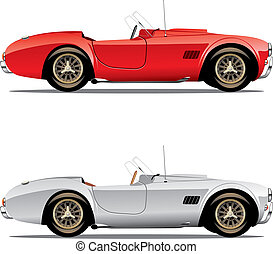 isolated convertible cars - vector editable isolated...