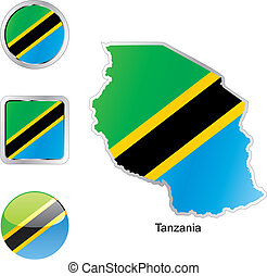 flag of tanzania in map and web buttons shapes