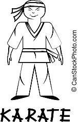 cartoon karate young man illustration