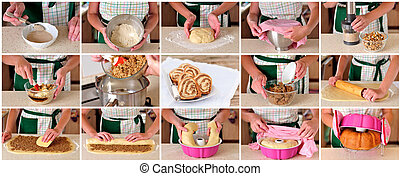A Step by Step Collage of Making Potica, Slovenian Nut Roll...