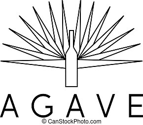 agave and bottle vector design template