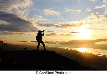 Photography man with sunrise