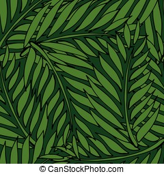 Cartoon seamless pattern with tropical plants on green...