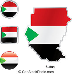 flag of sudan in map and web buttons shapes
