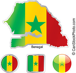 flag of senegal in map and web buttons shapes