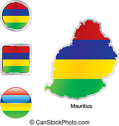 flag of mauritius in map and web buttons shapes
