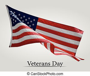 Flag America on Veterans Day. - Veterans Day with USA flag...