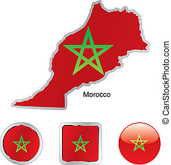 flag of morocco in map and web buttons shapes