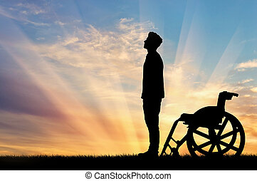 Silhouette of disabled person - Concept of disability and...