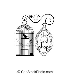 Signboard of bird shop - Birdcage with bird and signboard...