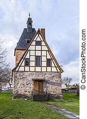 half timbered church in Rottleben, Thuringia - old half...