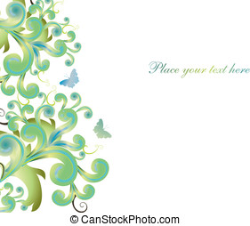 Abstract background with shapes and butterflies