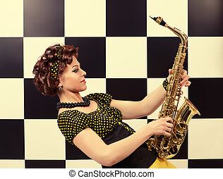 expressive saxophonist - Beautiful saxophone player in retro...