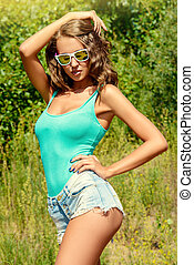 slender beauty - Attractive young woman in casual summer...