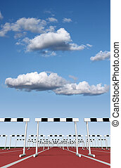 Hurdles track and sky - Illustration of hurdles track with...