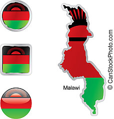 flag of malawi in map and web buttons shapes