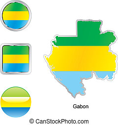 flag of gabon in map and web buttons shapes