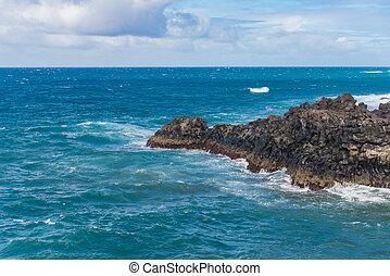 Los Hervideros famous landmark at coastline in Lanzarote...