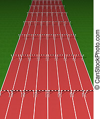 Hurdles track - Illustration of empty tartan hurdles track