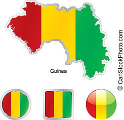 flag of guinea in map and web buttons shapes