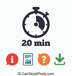 Timer sign icon 20 minutes stopwatch symbol Information...