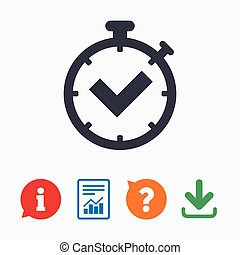 Timer sign icon Check stopwatch symbol Information think...