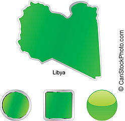 flag of libya in map and web buttons shapes