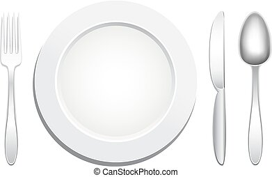 plate spoon fork knife - Empty plate, knife, spoon and fork...