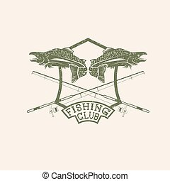 grunge fishing club crest with salmon