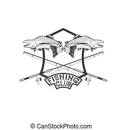 fishing club crest with salmon