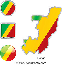 flag of congo in map and internet buttons shape