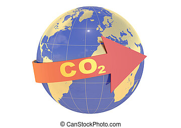 CO2 with earth globe concept isolated on white background