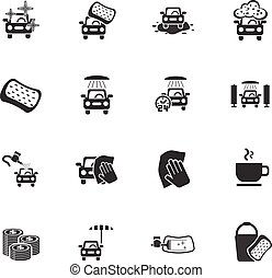 car wash service icon set - car wash service web icons for...