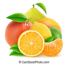 Isolated pile of citrus fruits