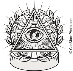 All seeing eye Black and white vector illustration