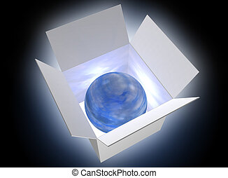 Blue ball in a box