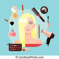 Blonde woman in beauty salon