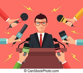 Press conference Vector flat illustration