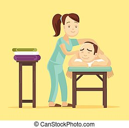 Spa massage. Vector flat illustration