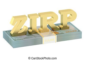 ZIRP concept with pack of dollars isolated on white...