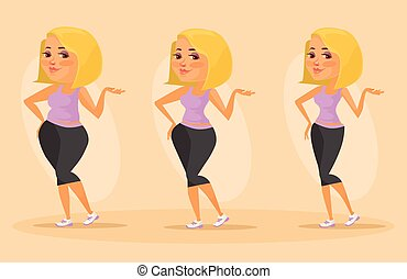 Slimming stages. Vector flat illustration