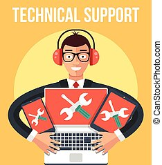 Technical support. Vector flat illustration