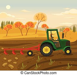 Farming and agriculture Vector flat illustration