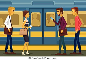 People in subway Vector flat illustration