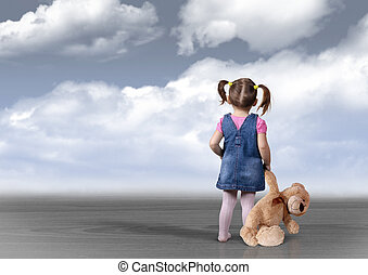 Child girl with toy bear looking into the distance,...