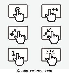 Multi touch pad phone gestures icon thin line web sign...
