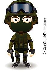 Soldier gun pistol military character combat black mask male...