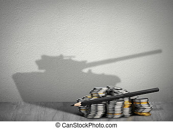 financing army concept, money with weapon shadow - financing...